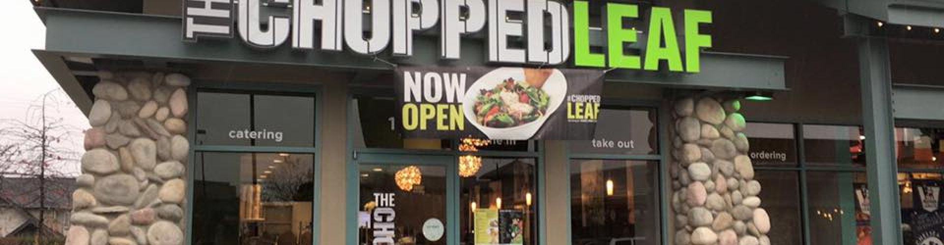 First stone facade restaurant Chopped Leaf Ironwood Plaza Richmond British Columbia